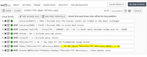 Portfolio123 backtest rules for the 2nd qunitile