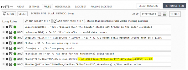 Portfolio123 backtest rules for the 4th qunitile