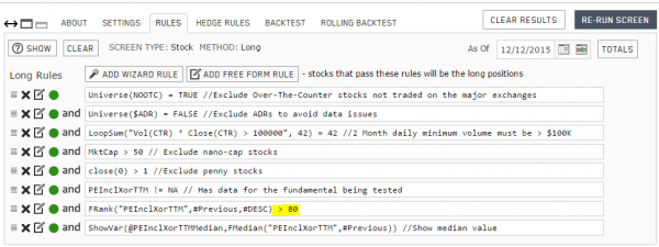 Portfolio123 backtest rules for the 5th qunitile