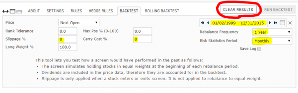 Changing the backtest settings