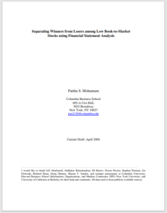 Separating Winners from Losers Among Low Book-to-Market Stocks Using Financial Statement Analysis paper cover